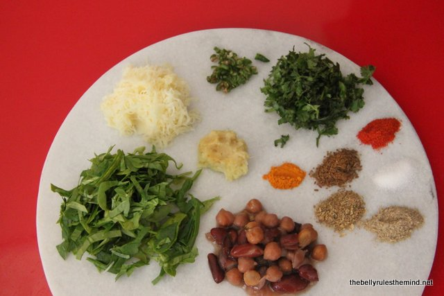 Ingredients for Spinach & Bean Patty