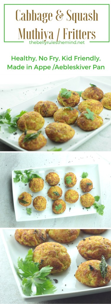 Cabbage & Squash Muthiya / Fritters no fry