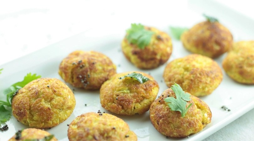 No-Fry Cabbage & Squash Muthiya / Fritters