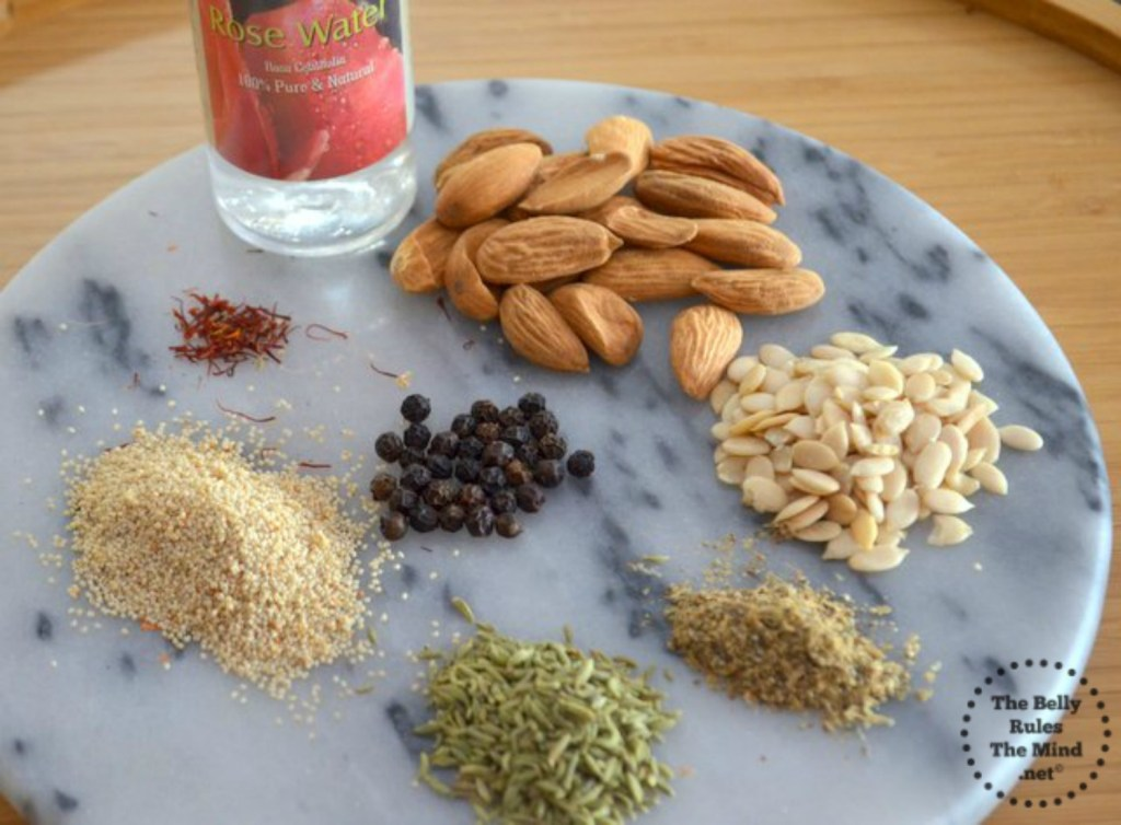 Ingredients for Thandai