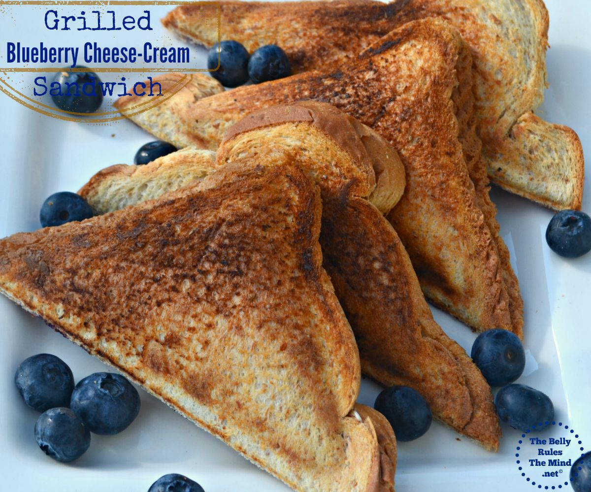 Grilled blueberry cheese cream sandwich