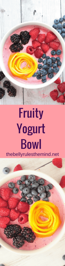 This fruity breakfast yogurt bowl is packed with fresh fruits and double the protein. Enjoy a bowl of goodness and nourish your body with vitamin C, protein & antioxidants.|https://www.thebellyrulesthemind.net @bellyrulesdmind