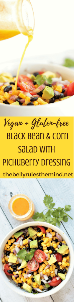 You are going to love this Black Bean Corn Salad recipe with Pichuberry Dressing. It's quick & easy and can be enjoyed as is, or serve it as a party appetizer or even makes a perfect lunch or dinner option. Vegan. Gluten-Free. https://www.thebellyrulesthemind.net #PichuberrySuperfruit #Pmedia #pichuberry #salad #dressing #recipe