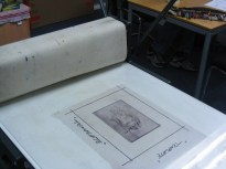 Ready to print -the ink has made the image very visible now.