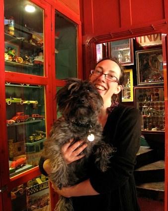 Sarah with Haggis, the museum dog.