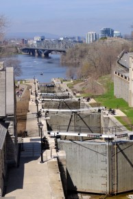 the locks lowering the Rideau Canal to the Ottawa river