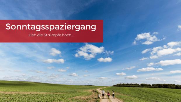 Feldweg mit blauem Himmel und Familie mit Hund beim Spazierengehen