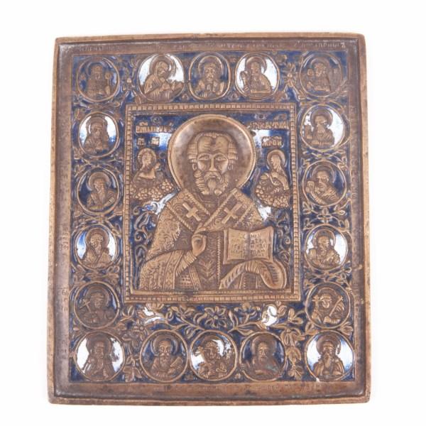 brass plaquette icon depicting Saint Nicholas