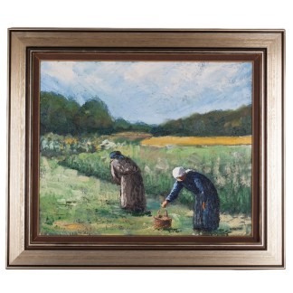 """Painting """"The Flax Harvest is about to Start"""", Size without frame: 50 x 62 cm, oil on canvas. Boris Ninemäe (Niinemäe 1925-1991)."""
