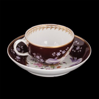 Russian porcelain cup and saucer of Popov factory