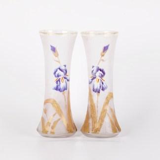 Pair of beautiful vases with iris enamel flower. French. Painting, enamel, glass.