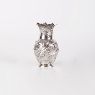 """Antique French silver small vase with flower engraved motives. """"L. Lapar """", Paris."""