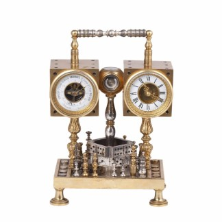Tiffany desk chess and gambling compendium clock