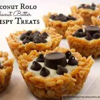 Coconut Rolo Peanut Butter Krispy Treats
