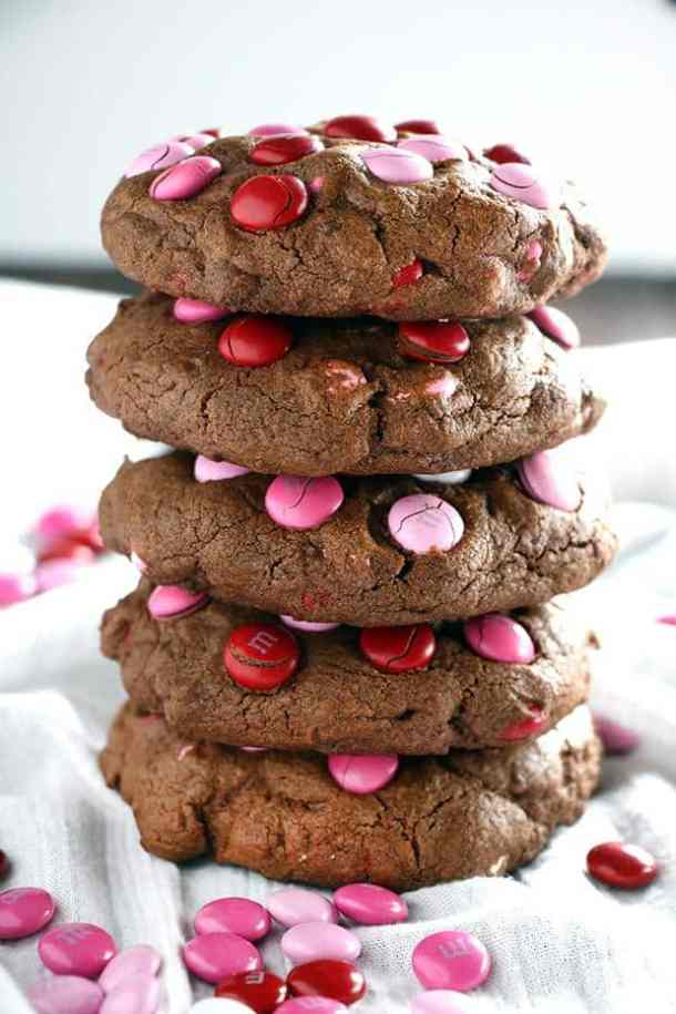 Big Chocolate M&M Valentine's Day Cookies -- Part of the Best Valentine's Day Cookies
