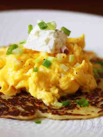 Potato Pancake with Scrambled Eggs and Cheese