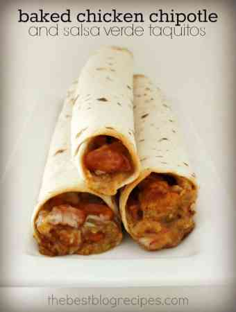 Baked Chipotle Chicken and Salsa Verde Taquitos