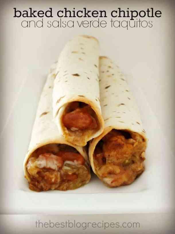 Baked Chicken Chipotle Salsa Verde Taquitos | The Best ...