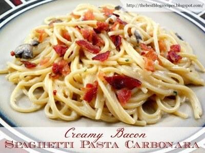 Creamy Bacon Spaghetti Pasta Carbonara | The Best Blog Recipes