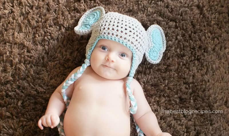 Crochet Baby Elephant Hat from The Stitchin Mommy Featured on The Best Blog Recipes