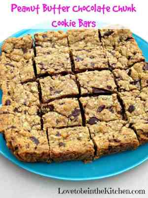 Peanut Butter Chocolate Chunk Cookie Bars | The Best Blog Recipes