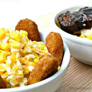 Easy Chicken Nugget and Hickory Barbecue Riblet Mashed Potato Bowls