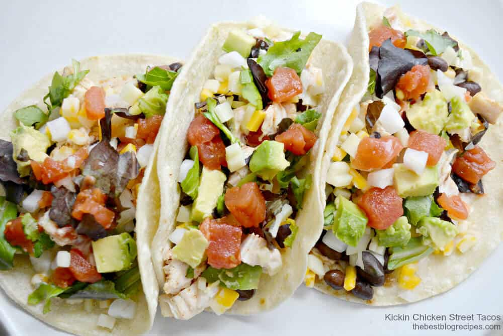 Spicy Kickin Chicken Street Tacos are ready in 25 minutes or less and they are so yummy and #glutenfree | thebestblogrecipes.com | #chicken #dinner #recipe #mexican