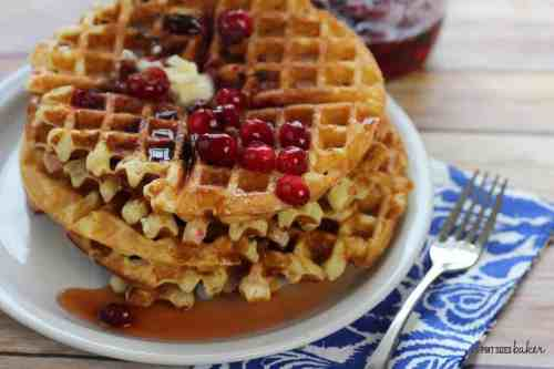 Cranberry Waffles featured on 26 Christmas Recipes from The Best Blog Recipes