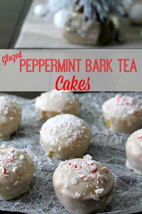 Glazed Peppermint Bark Tea Cakes featured in 18 Peppermint Desserts on The Best Blog Recipes