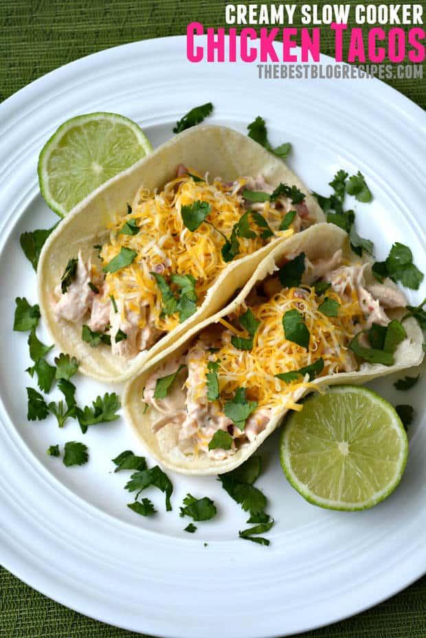 Creamy Slow Cooker Chicken Tacos recipe