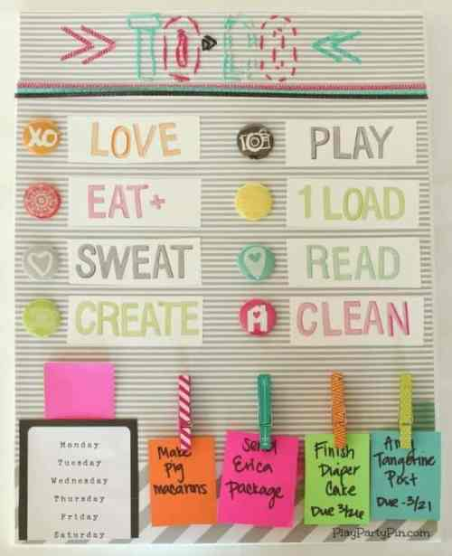 DIY To Do Board featured on Organization and Cleaning Tips from The Best Blog Recipes