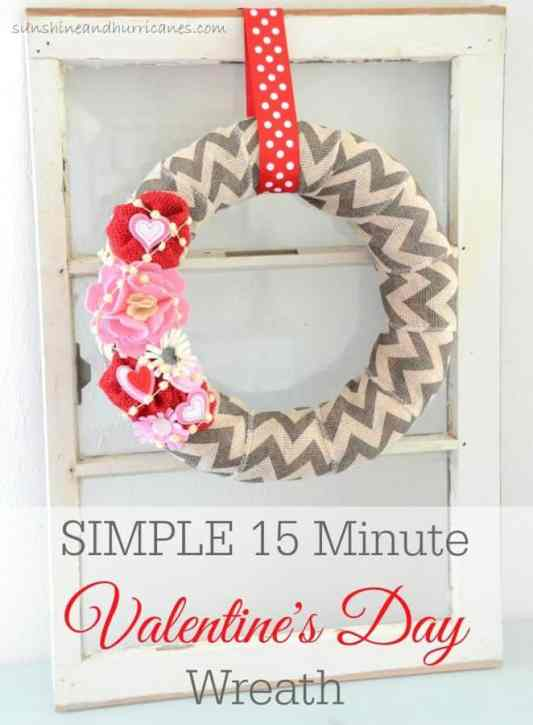 Simple 15 Minute Valentine Day Wreath featured on 25 Valentine's Day Crafts from The Best Blog Recipes
