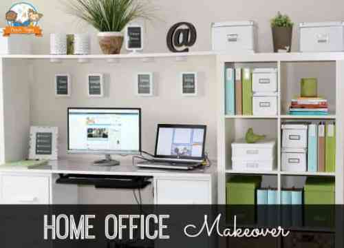 Home Office Makeover featured on Organization and Cleaning Tips from The Best Blog Recipes
