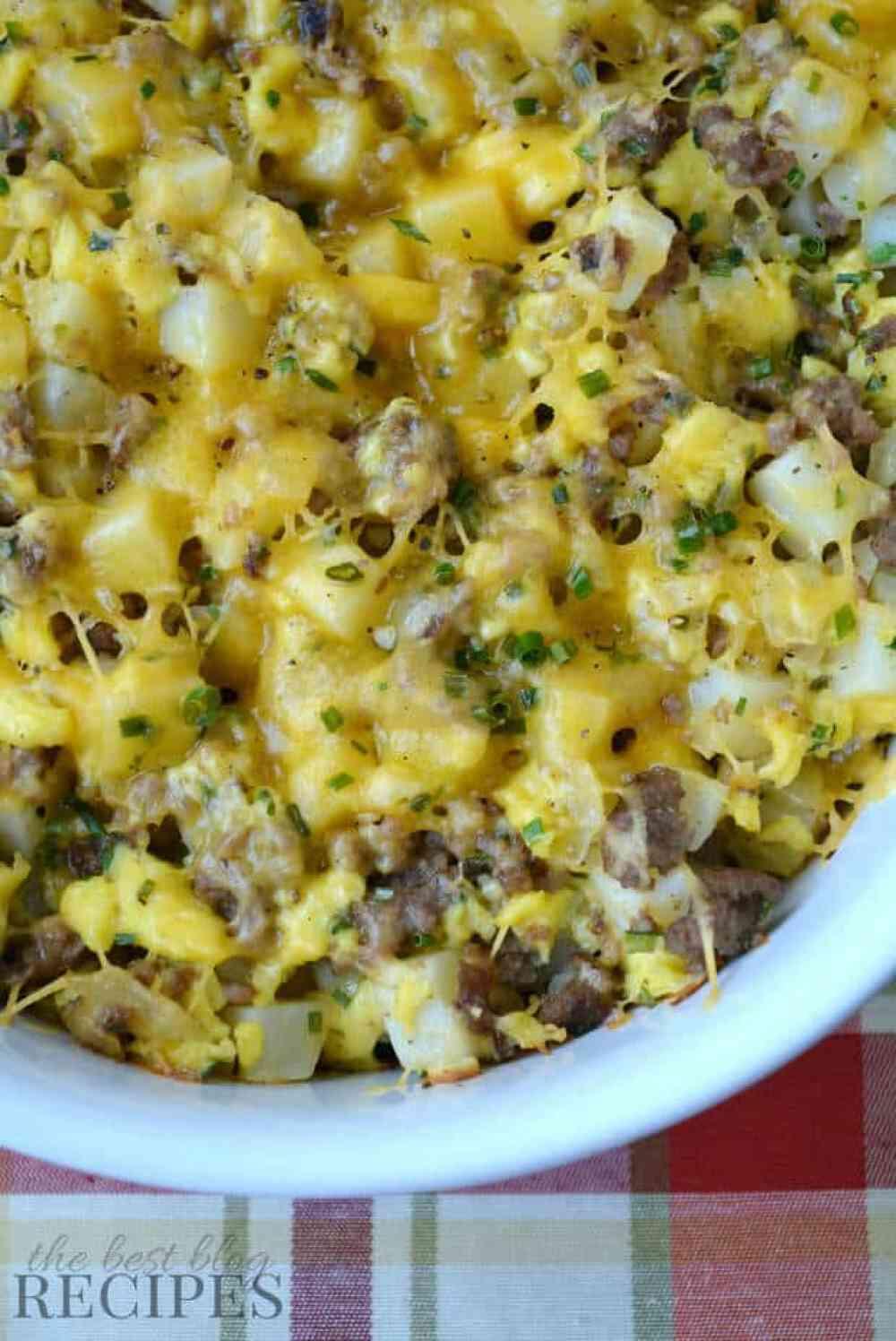 Easy Cheesy Sausage and Potato Breakfast Casserole Recipe from The ...