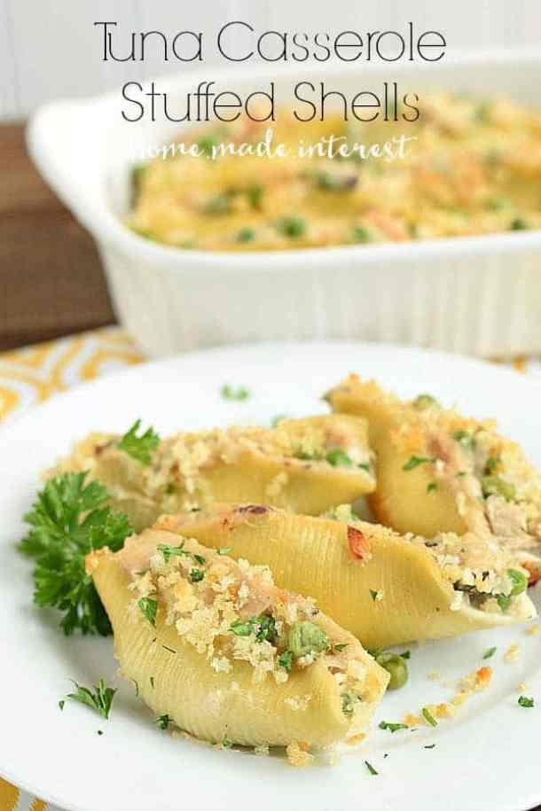 Tuna Casserole Stuffed Shells--Part of The Best Pull Stuffed Shells Recipes
