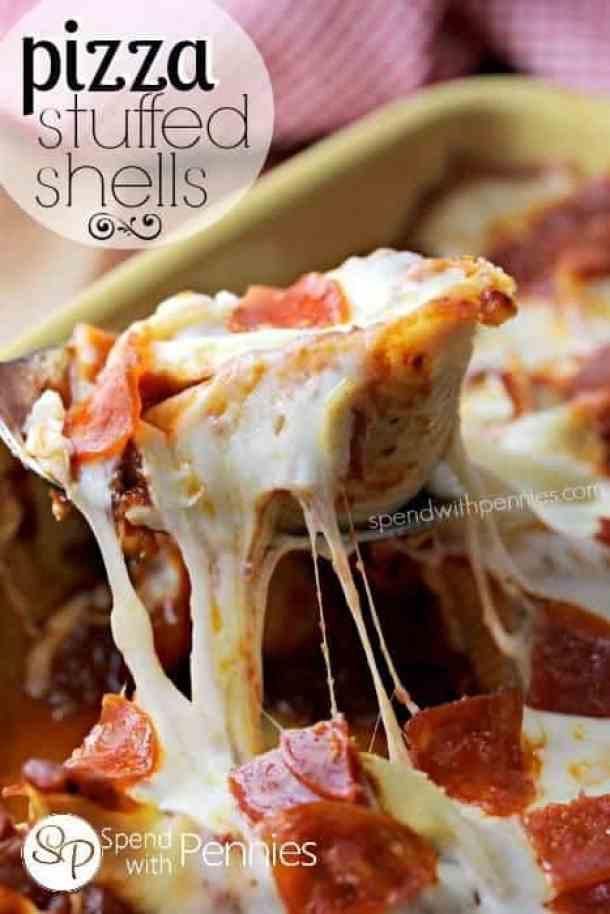 Pizza Stuffed Pasta Shells--Part of The Best Pull Stuffed Shells Recipes