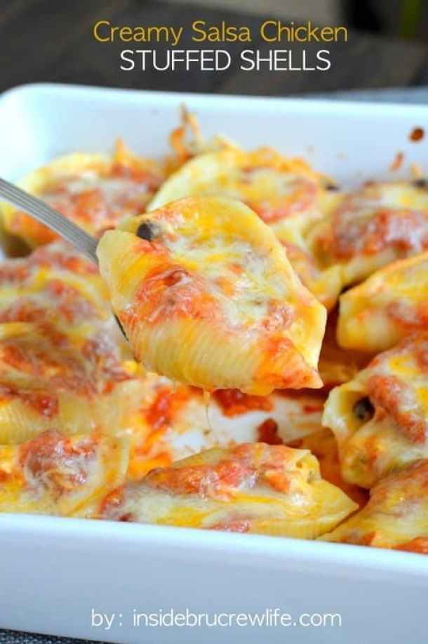 Creamy Salsa Chicken Stuffed Shells--Part of The Best Pull Stuffed Shells Recipes