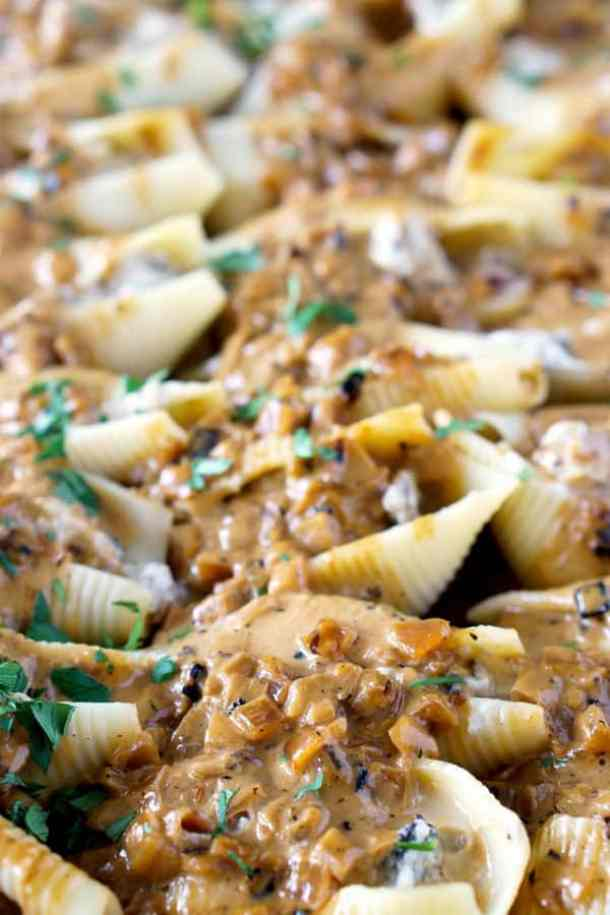 Chicken Marsala Stuffed Shells with Creamy Marsala Sauce--Part of The Best Pull Stuffed Shells Recipes