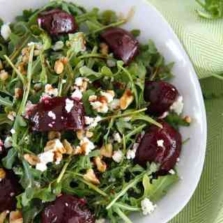 Balsamic Beet Salad with Arugula, Goat Cheese and Walnuts