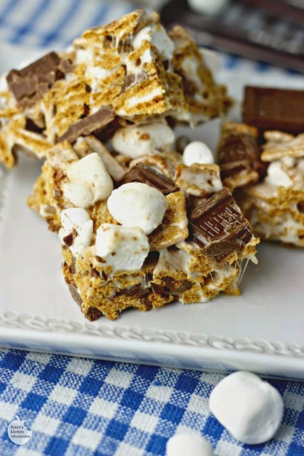 These S'mores Krispie Treats were a hit with my family and they will be with yours too! You don't need a campfire to make this s'mores recipe!