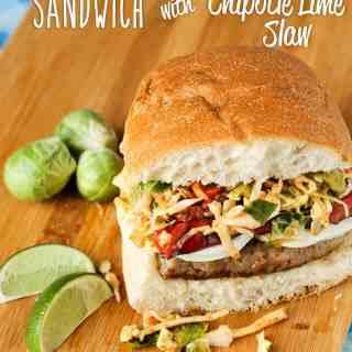 Sausage Mozzarella Sandwich with Chipotle Lime Slaw