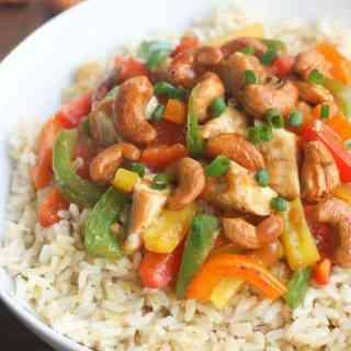 Skinny Asian Chicken Stir-Fry with Honey Roasted Cashews