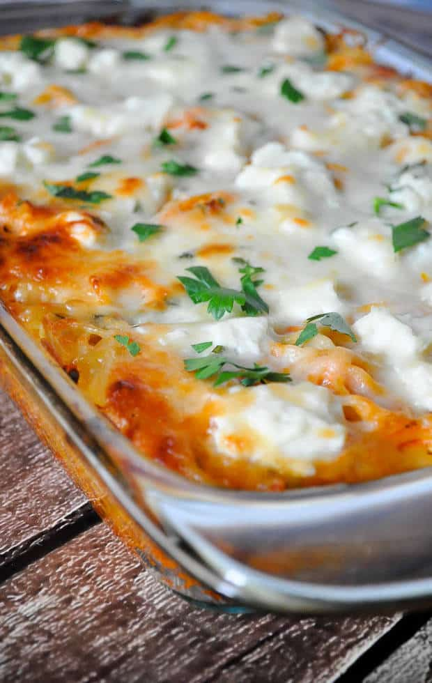 The best part about this baked spaghetti casserole is that it is extremely easy to make. Boiling the noodles is the hardest part which makes it the perfect dinner to whip upif you've had a LONG day.