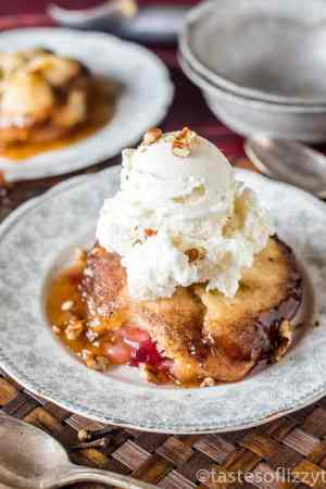 Cranberry Apple Dumplings -- are made with a simple dough wrapped around apple slices and cranberry sauce, then baked in a brown sugar syrup. Serve with a scoop of vanilla ice cream on top!