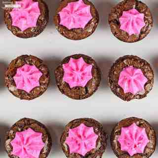 Pink Frosted Brownie Bites