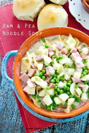 Ham and Pea Noodle Soup -- a true comfort food that comes together in just about 30 minutes! | Featured on www.thebestblogrecipes.com