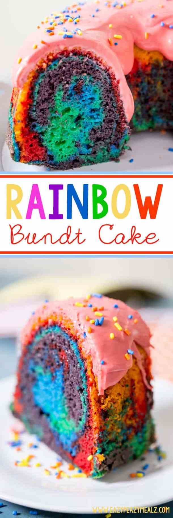 Rainbow Bundt Cake -- A classic vanilla bundt cake amped up into rainbow colored fun with a raspberry glaze and sprinkles! Perfect for St. Patrick's Day or a party