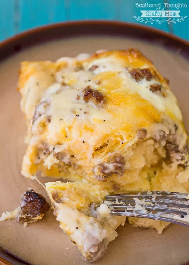 I'm sure you'veheard of biscuits and gravy casserole, right? This version of that popular breakfast casserole is filled with eggs and cheese and is perfect for lazy Sunday mornings with the family and it's even better when doubled for large groups. Bonus: this Egg Casserole can be assembled the night beforefor practically no morning prep!
