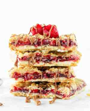 Skinny Raspberry Shortbread Bars | Featured on www.thebestblogrecipes.com