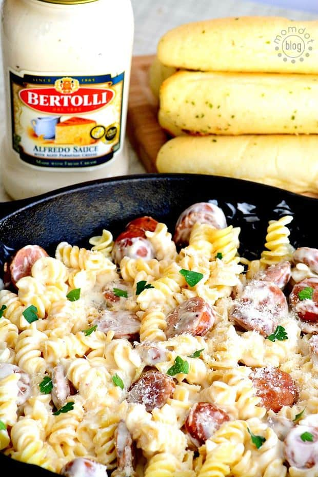 Spicy Sausage Alfredo for 2 is about to become your new favorite recipe
